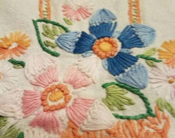 "Vintage Dresser Scarf or Table Runner Hand Embroidered Crocheted 38"" X 16"""