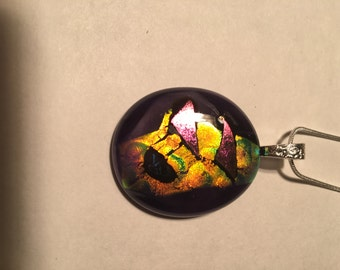 Dichroic Fused Glass Pendant Necklace Wild