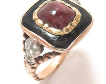 RESERVED FOR CONNIE -1840s Victorian Black Enamel Almandine Garnet Ring in 14k Gold with Mine Cut Diamonds