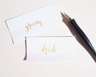 Custom hand written calligraphy wedding place cards | wedding name cards | calligraphy wedding place names | watercolour place cards