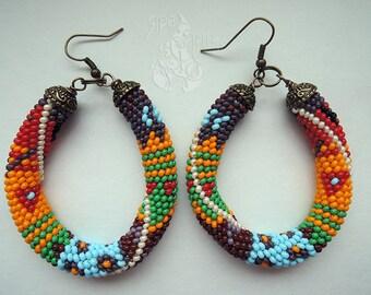 Boho earrings, Patchwork earrings, Large earrings, Nickel free earrings, Statement earrings, Gypsy earrings, Gift for her, Beadwork earrings