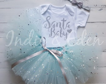 Baby Christmas Tutu Santa Baby girls fancy dress costume babysuit birthday glitter blue set photo prop cake smash