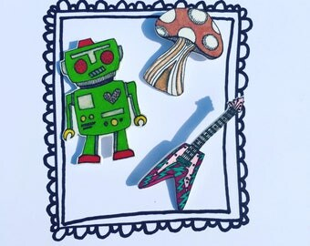 Robot! handmade & illustrated brooch, pin, badge, one of a kind original design.