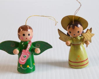 Vintage Wooden Angels Christmas Ornaments