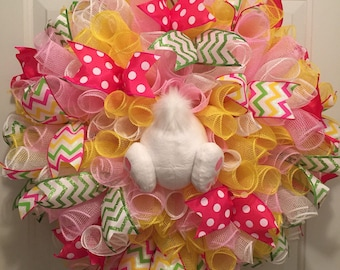 Easter Bunny wreath yellow & pink, Easter Bunny, Easter bunny butt wreath, Easter Wreath, bunny butt, Bunny ears, Spring wreath Easter decor
