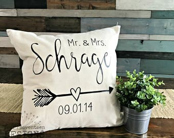 Personalized Pillow COVER ONLY // Wedding, Anniversary, Bridal Shower {gift, marriage, celebration}