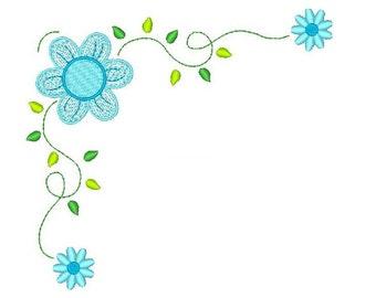 Floral Embroidery Design, Flower Machine Embroidery Design, Floral Corner Machine Embroidery Design no: JG00044-5