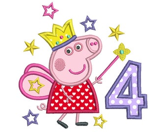 Girl's 4th Birthday Applique Machine Embroidery Design, Peppa Fairy Pig Fourth Birthday, Number 4 Applique, Instant Download, No: SA510-15