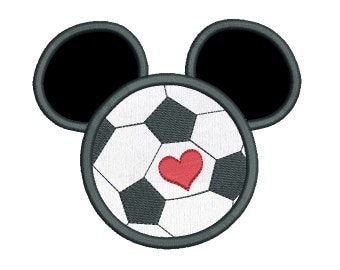 Soccer Ball Mouse Ears Applique Machine Embroidery Design, Instant Download Mouse Ears Embroidery Design no: SA535-11