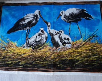 REDUCED - French vintage cotton printed bird tea towel / torchon  (04126)