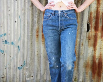 Vintage LEVI'S 501s / Distressed / Paint Spatter / Button Fly / Mid Blue / Classic 501 Levi Jeans / Red Tab Levi's / 29