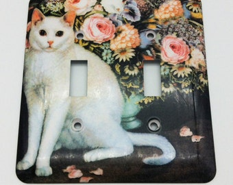 White Cat and Flowers Double Toggle Metal Switchplate Cover