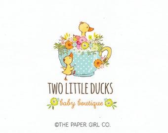 duck logo baby shop logo children's logo knitting logo sewing logo crochet logo photography logo premade logo boutique logo watermark