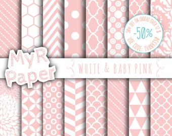 "SALE 50% Pink Digital Paper: ""White & Baby Pink"" Digital Paper Pack and Backgrounds with Chevron, Damask, Triangles, Stripes and Polka Dots"