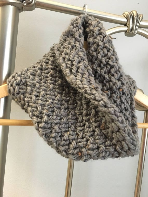 Chunky knit cowl, grey scarf, textured knit scarf, oversize cowl, cozy cowl, handmade winter accessories, winter scarf