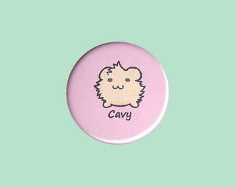 Cute Guinea Pig Badge 'Cavy' (CREAM) - guinea pig button, cavy button, guinea pig accessory, guinea pig illustration, kawaii badges