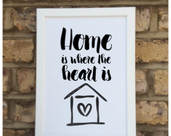 Home is where the heart is print | quote | Wall prints | Wall decor | Home decor | Print only | Typography