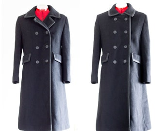 Black wool double breasted winter coat