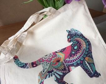 Cotton reusable Cat design Bag