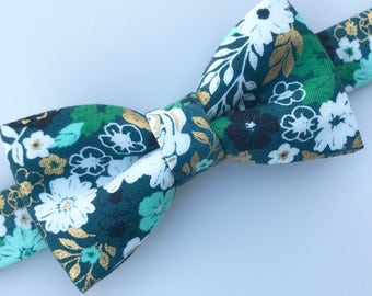 Floral bow tie. Green bow tie. Green and gold bow tie. Spring bow tie. Flower bow tie.