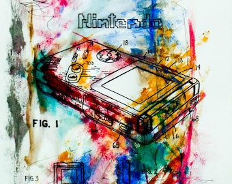 Postcard sized - Nintendo Patent Acrylic Painting print