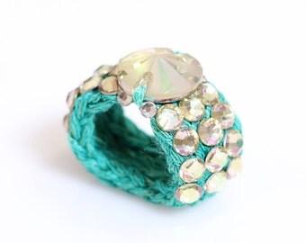 Swarovski ring, Glamour ring, Knitted ring, bespoke ring, stretch ring, crochet ring, yarn ring, Light green ring,luminous green, women.