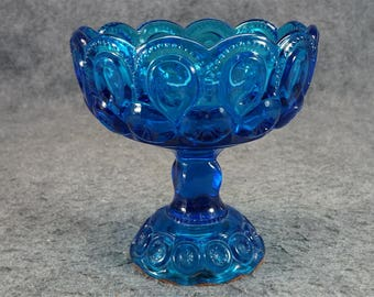 Vintage Blue Compote With Ornate Design