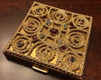 Volupte jewel encrusted vintage compact - Volupte compact - heavy jewel top compact - jewel compact - Art Deco volupte compact