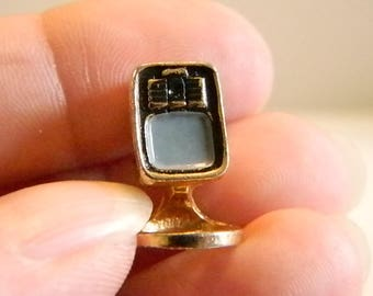 Vintage Gold Tone Finish TV Tie Tack Pin