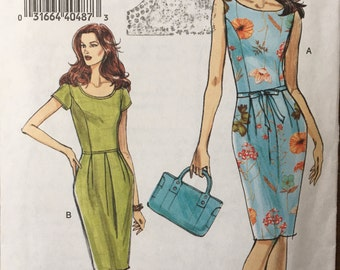 Dress pattern, very easy Vogue V8180, fitted bodice, tapered skirt, SIZES 12, 14, 16, 18, UNCUT
