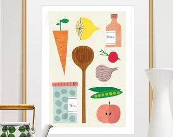kitchen decor, wall art, fruit print, food print, kitchen art, kitchen wall decor, vegetable print, mid century modern, bon appetite, modern