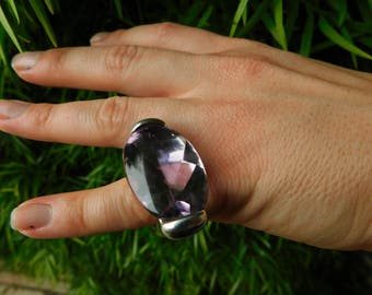 PIANEGONDA amethyst cosmic drops ring, huge amethyst stone in solid sterling silver band, thick heavy sold out, made in Italy size 5 - 5.5