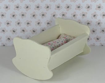 Doll vintage cradle crib bassinette 1960s furniture wooden white