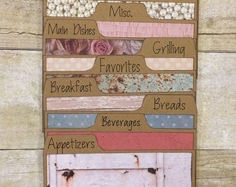 Recipe Card Dividers 3x5, 4x6, Rustic, Shabby Chic, Floral, Lace, Pearls