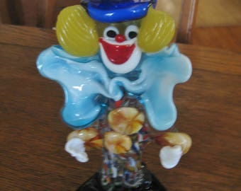 """Vintage Murano glass clown 7.5"""" tall with blue bow tie & Top Hat"""