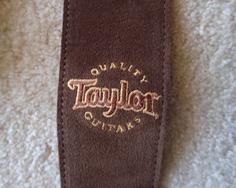 Taylor Guitar Strap Brown Suede Leather Near New Condition