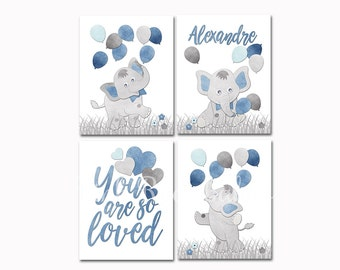 Nursery wall art kids room decor playroom poster baby boy name room decoration elephant bedding bedroom print you are so loved shower gift