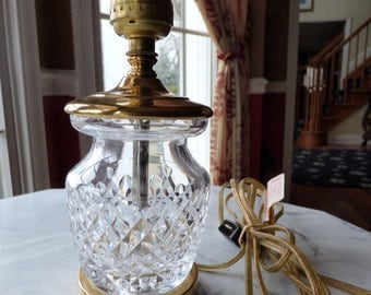 "Waterford Crystal and Brass Boudoir Nightstand Table Accent Lamp 8"" Inline On Off Switch"