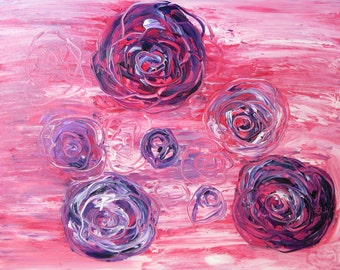 abstract table 65x50cm roses violets modern acrylic paint