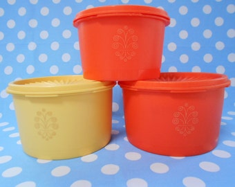 Retro Bright Orange and Yellow Tupperware Canisters Set of 3 1970's  #10277