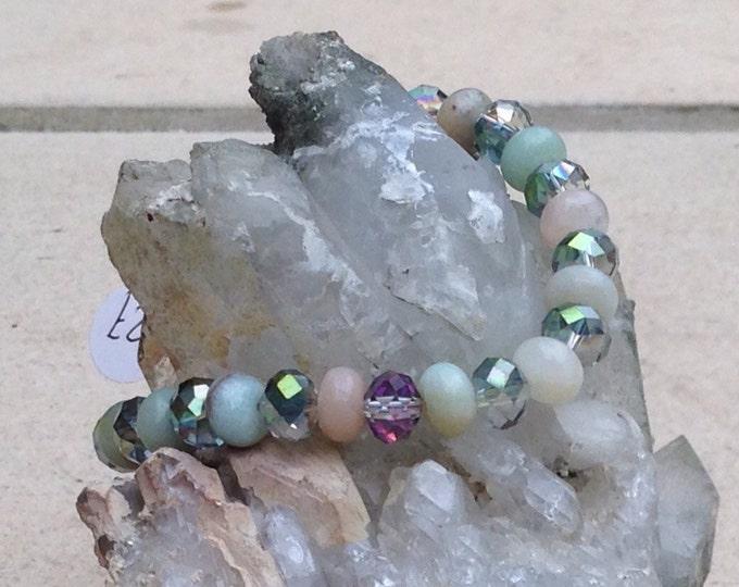 Amazonite bracelet, Swarovski & Amazonite, silver Amazonite jewellery, bracelet with extender chain, beaded bracelet