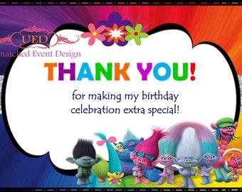 Trolls Thank You Card, Trolls Birthday, Trolls Thank You, Trolls, (DIGITAL File/Diy Printing/IMMEDIATE DOWNLOAD)