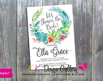 Bridal Shower Invitation, Bridal Shower Tropical Invitation, Wedding Shower, Floral Invitation, Island Style Invite, Hawaiian Wedding