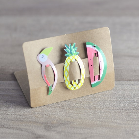 barrettes toucan ananas pasteque selection etsy