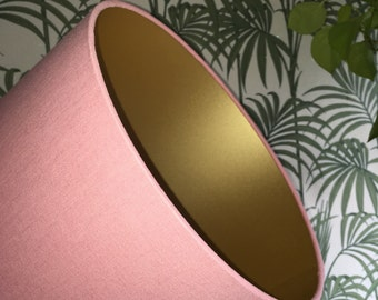 Blush pink and matte gold handmade lampshade - various sizes!