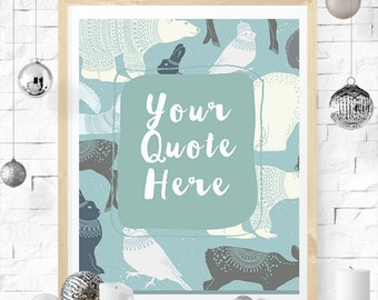 woodland animals winter wall art custom quote printable blue and white nursery decor deer bear rabbit snow instant download