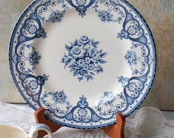 Set of 2 Dinner Plates, Kent Swinntertons, Blue and White Transferware, Floral Dinner Plate, English,Made in England,Staffordshire
