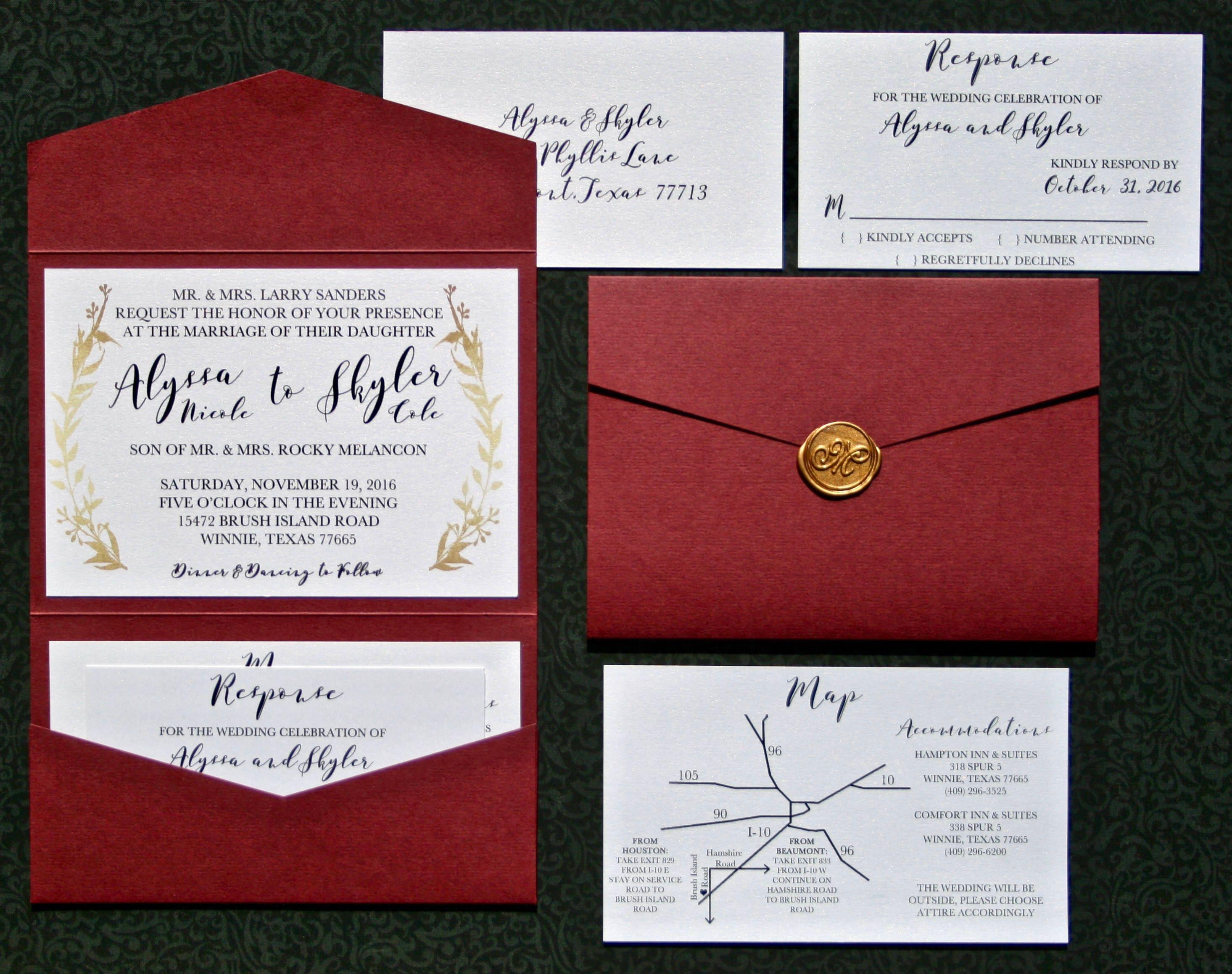 Burgundy Wedding Invitation Suite - Wine Wedding Invitation Suite ...