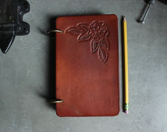 Day Planner Leather Hand Carved Tooled Flower