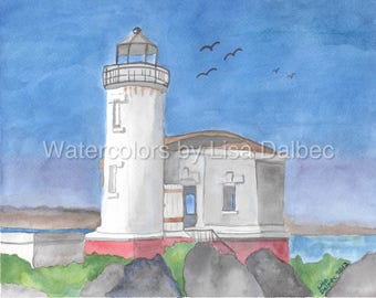 Coquille River Lighthouse Watercolor